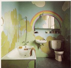 70's bathroom | This mural makes this bathroom what it is - no other decor necessary~ (And the flickr stream it's on has some other high-stylin' 70's rooms worth checking out too!) // while you're at it, check out www.herrsuite.com