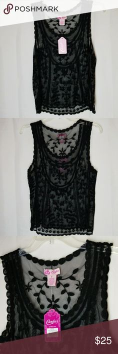 """Candies Lace Tank Beautiful!!!!! Candies Embroidered Tank  55% cotton 45& nylon  Armpit-Armpit is 17"""" Length 23"""" Candie's Tops Tank Tops"""