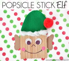 Popsicle Stick Elf - I Heart Arts n Crafts || 15 Fun Elf Crafts for Kids! A wonderful collection of 15 Christmas Elf Crafts for children from 2 to 22!!