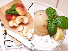 Behyflora... la vie en rose: peach and basil sorbet with coconut yoghurt cream