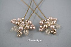 Bridal hair piece. Wedding set of 2 pins. Leaves Hair vines. Champagne gold. Pearl hair pins. Wedding accessories. Vintage look bridal pins