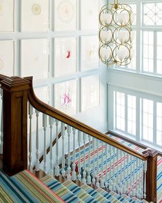 A happy stairwell for a happy home 🏡 🌈💕 designed with Damien Hirst spin paintings, a bright striped runner and vintage chandelier. Damien Hirst, Vintage Chandelier, Valance Curtains, Stairs, Design Inspiration, House Design, Bright, Interior Design, Projects