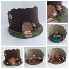 Tree Stump House Playscape play mat felt pretend storybook open-ended storytelling fantasy fairytale fairy woodland gnome dollhouse mushroom by MyBigWorld2015 on Etsy