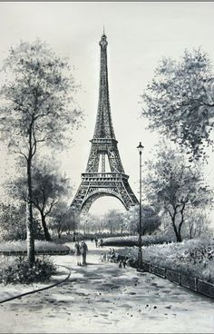 Scenery Drawing Pencil, Pencil Sketches Landscape, Art Drawings Sketches Simple, Landscape Drawings, Pencil Art Drawings, Eiffel Tower Drawing, Eiffel Tower Painting, Eiffel Tower Art, Paris Drawing