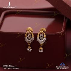 Gemstone Earring jewellery for Women by jewelegance. ✔ Certified Hallmark Premium Gold Jewellery At Best Price Gold Earrings Designs, Gold Jhumka Earrings, Gold Bridal Earrings, Jewelry Design Earrings, Ring Designs, Gold Earrings For Women, Indian Jewelry Earrings, Beaded Necklaces, Designer Earrings