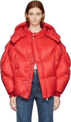 Long sleeve quilted down-filled jacket in 'bright' red. Detachable hood featuring press-stud fastening. Press-stud placket concealing two-way zip closure at front. Welt pockets at waist. Inset rib knit cuffs. Fully lined. Silver-tone hardware. Tonal stitching. Fill: 90% goose down, 10% feather.
