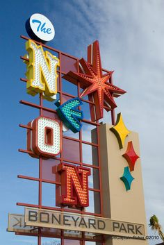 Neon Museum in Las Vegas, NV. Las Vegas is notorious for its lights, but it is also a city where the even slightly faded is quickly replaced with the new. Neon signs are no different, and when they're done on the strip, they head to the Neon Museum neon graveyard.