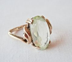 Antique Ring, 10K Gold Ring, Vintage Peridot Ring, August Birthstone, Size 6…