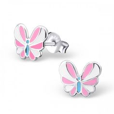 Sterling Silver pink and white butterfly earrings by Girl Almighty. Pretty pink butterflies, stud earrings for pierced ears. Butterfly Kids, White Butterfly, Animal Earrings, Stud Earrings, Papillon Rose, Butterfly Earrings, Girls Earrings, Beautiful Gift Boxes, Ear Piercings