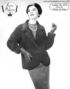 Laines du Pingouin 279  How chic is this? Wonderful late 1950s coat with wide lapels, a deep v-neck and fabulous turn back cuffs  Measurements: