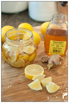"Sore Throat Season Upon Us... The best remedy is all natural! ALWAYS! Tea for sore throats and chest colds:  ◾ 2 lemons cleaned + sliced ◾ 2 1"" piece of ginger cut in small pieces ◾ 1 1/2 c Honey  ◾ In jar combine lemon slices + sliced ginger ◾ Pour honey in- let sink down in lemon + ginger ◾ Close jar and put it in fridge- it will form into a ""jelly"".  ◾ To serve: Spoon jelly into mug and pour boiling water over it."