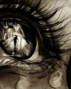 "reflection in teary eye.  ugh so many people draw eyes because they are ""a window to the soul""  but this person did it differently- better too. a different angle, and sharp contrast are the major differences. most people draw forward facing eyes and they become boring after a while. this person took a risk and nailed it! love it"
