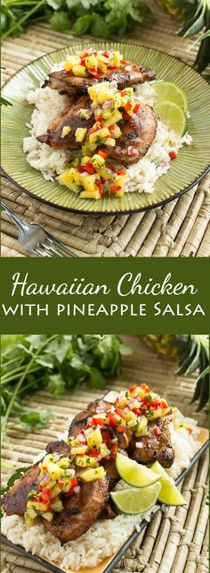 Hawaiian Coconut Grilled Chicken with Pineapple Salsa - a taste of the tropics at home!