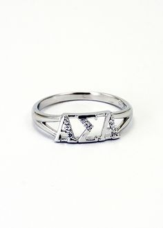 Alpha Sigma Alpha Sterling Silver Ring set with Lab-Created Diamonds  #alphasigmaalpha #sororityjewelry