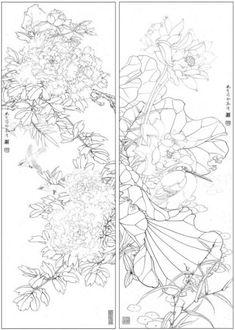 목단외 백묘 : 네이버 블로그 Flower Sketches, Drawing Flowers, Stencil Printing, China Art, Flowering Trees, Colorful Drawings, Chinese Painting, Colouring Pages, Botanical Illustration