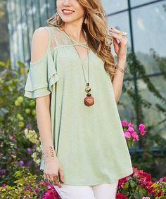 6438fcb8fd7 Suzanne Betro Retro Green Lace-Yoke Cutout Tunic - Plus Too