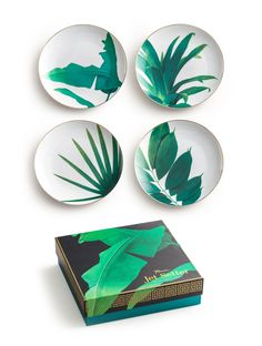 Bring the beauty of the tropics into your home with the Nanette Botanical Plates! Gorgeous motifs of banana leaves and other tropical wonders dance across these little plates, it's hard not to love them.