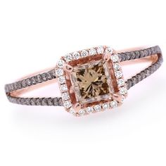Jewelry Point - 1.01ct Princess VS2 Brown Diamond Engagement Ring 14k Rose Gold, $1,690.00 (http://www.jewelrypoint.com/1-01ct-princess-vs2-brown-diamond-engagement-ring-14k-rose-gold/)