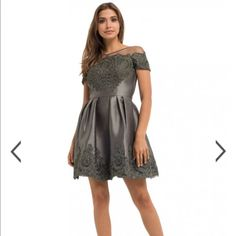 Embroidered Cocktail Dress Silver/Gray