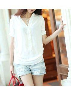 V Neck Short Sleeve Buttons Design Front White Chiffon T-shirt