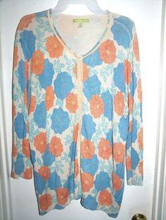 Sigrid Olsen Woman Beige Cardigan Sweater Blue Orange Floral Thin Plus Size 2X #SigridOlsen #Cardigan