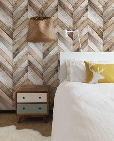 Wanddeko Holz Nuancen Schlafzimmer Wandgestaltung Mit Fischgrätmuster  Moderne Wandgestaltung, Wandverkleidung, Renovierung, Wanddeko Holz