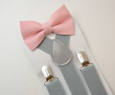 Kids Boys Mens Light Gray Suspenders Blush Pink BOW TIE SET 6MON Adult | eBay