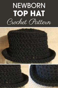 This Newborn Top Hat is great for a photo prop. #crochet #crochetlove #crochetaddict #crochetpattern #crochetinspiration #ilovecrochet #crochetgifts #crochet365 #addictedtocrochet #yarnaddict #yarnlove #newbornhat