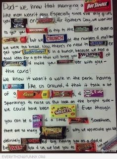 Father's Day Candy Letter-Kids made one of these for Father's Day and he said it was hands down the best present ever-funny, cheap, and really useful! Fathers Day Post, Fathers Day Letters, Funny Fathers Day Card, Fathers Day Crafts, Candy Letters, Just In Case, Just For You, Candy Grams, Daddy Day
