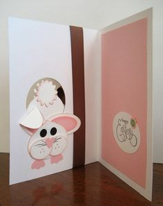 handmade Easter card ... inside of punch art card ... front end of bunny coming into the card ... luv it!!