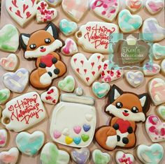 Valentines Day sugar cookies Keri's Kreations fox hearts