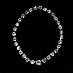 c.1800 Necklace, a single row of pastes set in silver, backed with gold. V M.66-1925