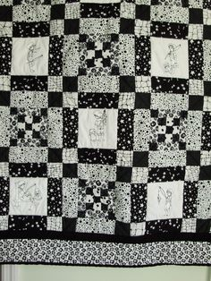 Boys patchwork and embroidered black and white quilt - fishing theme by quiltsbydebbie on Etsy https://www.etsy.com/listing/33068606/boys-patchwork-and-embroidered-black-and