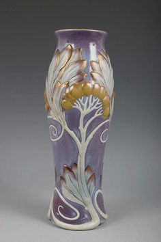 A superb exampleof an art nouveau vase by the French pottery, Sarreguemines