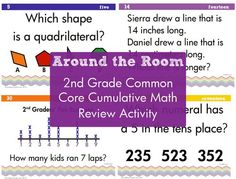 Around the Room 2nd grade common core cumulative math review in color and black and white.  Includes student skill sheet for independent practice.