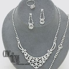 4 PC ELEGANT CLEAR CRYSTAL PROM WEDDING FORMAL NECKLACE JEWELRY SET CHIC TRENDY #Unbranded