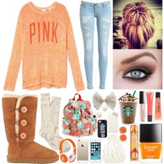 this is what i picture when i think of fall, minus the pink shirt, its bland