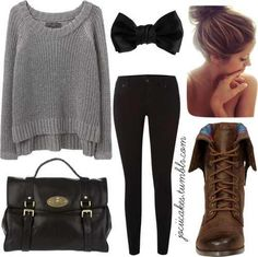 Cute combat boots, sweater, and bow