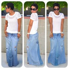 Immediately buying jeans in sale for this purpose! Reconstructed Jeans to Maxi Tutorial - Mimi G Style
