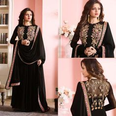 Black Embroidered Suit  Product Info :  Top : Georgette Bottom : Santoon Dupatta : Nazneen Work : Embroidery Size : Free Type : Semi Stitching  Sleves : Full Slevess wash care : dry clean  Price : 1850 INR  Book the look @ WhatsApp : +91 9054562754 ❤️ Cash On Delivery In India + 🌍 Ship to worldwide