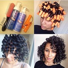 """naturalhairdoescare: """" used these items to achieve these lovely heatless curls, including products from the presenting sponsor for our Love it! Protective Hairstyles For Natural Hair, Natural Hair Tips, Natural Hair Journey, Natural Hair Styles, Roller Set Natural Hair, Natural Curls, Braided Hairstyles, Cabello Afro Natural, Heatless Curls"""