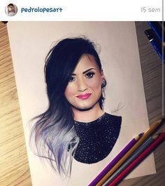 Pencil Art Drawings, Cartoon Drawings, Eyebrows On Fleek, Amazing Drawings, Demi Lovato, Cool Artwork, Role Models, Fan Art, Singer