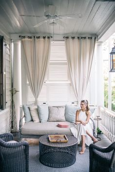 I'm more into that porch than the dress. Gal Meets Glam White Summer Dress - Halston Heritage dress c/o, Mansur Gavriel bag, Steve Madden heels, and Lisi Lerch earrings Outdoor Rooms, Outdoor Living, Outdoor Furniture Sets, Outdoor Decor, Outdoor Drapes, Rustic Furniture, Outdoor Cushions, Outdoor Seating, Antique Furniture