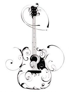 Very original acoustic guitar tattoo design. I got an estimate for it. Now i just need to muster up the courage to actually do it. Guitar Drawing, Guitar Art, Acoustic Guitar Tattoo, Guitar Tattoo Design, Music Guitar, Ukulele, Music Tattoos, Tatoos, Swirl Tattoo