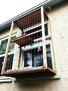 "Cat balcony or ""Catio.""  #cats #pets  (courtesy of my yoga instructor whose bf made this)"