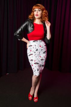 Traci Lords Pencil Skirt in Juvenile Delinquent Print   Pinup Girl Clothing