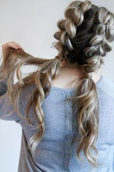 Watch how to do your own jumbo pull through braid pigtails perfect for day to day, the gym, or date night! Check out this beautiful tutorial! ponytails, braids, hairstyles, cute, big braids, pigtails, trendy hair.