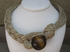 Wood Necklace Natural Linen Eco-Friendly Knots Braid by espurna88