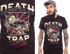 Kustom Kreeps Death Trap on a black guys slim fit shirt by Sourpuss