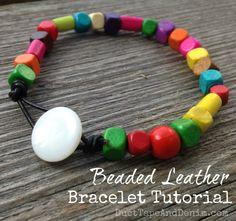 Beaded Leather Bracelet Tutorial DIY